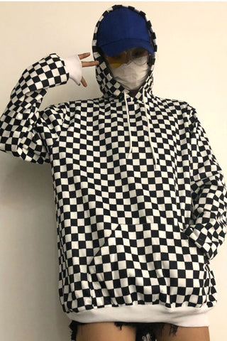 Black White Checker Hoodie