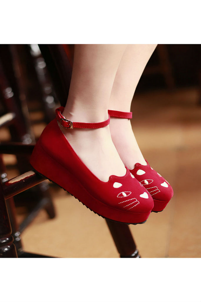 Lolita Cat Wedges In Red