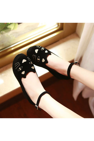 Cute Cat Wedges In Black 👀