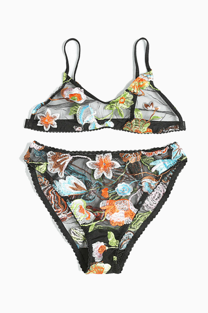 Floral Bralette Panties Set