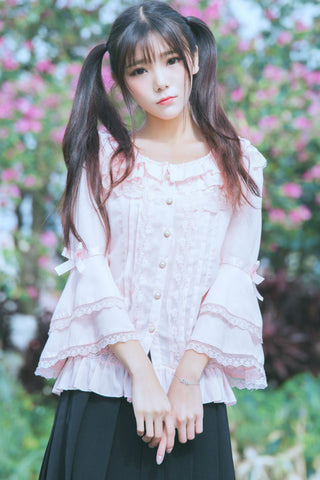 Lace Bell Sleeve Pink Blouse