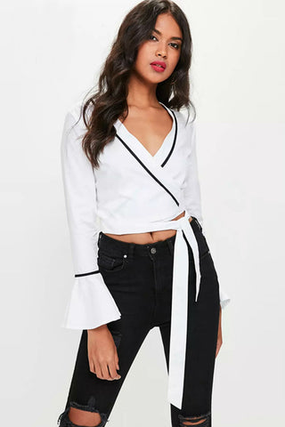 V-neck Wrapped Hem White Blouse