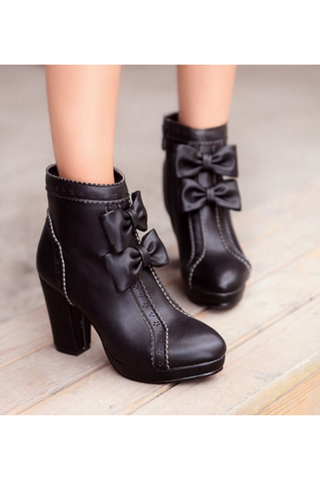 Zipper Side Bowknot Heeled Booties In Black