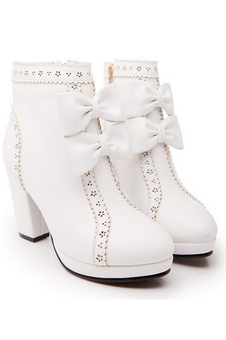 Zipper Side Bowknot Heeled Booties In White