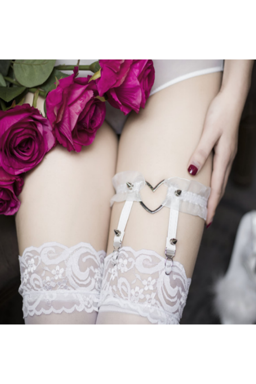 Sexy Heart Lace Garter Belt