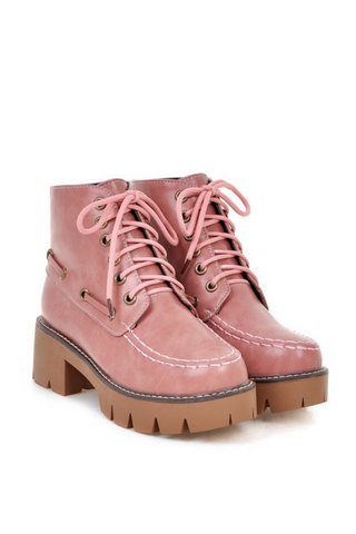 Sweet Lace Up Martin Boots In Pink