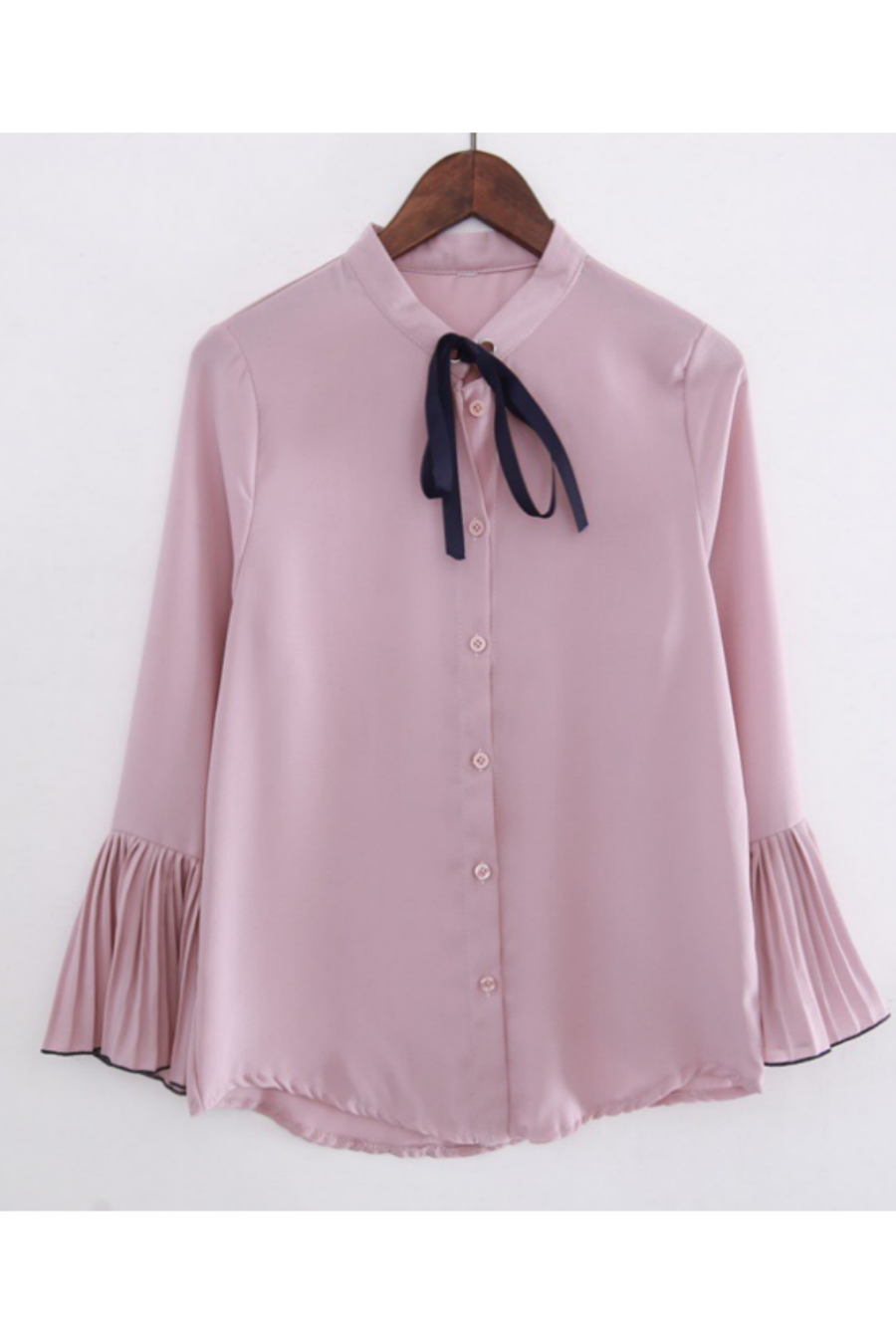 Chic Pink Lace Up Blouse