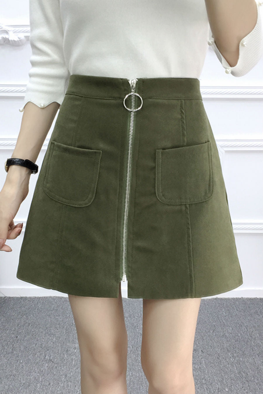 Zipper Up Suede Leather Skirt