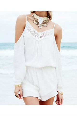 Lace Stitching Cold Shoulder Romper