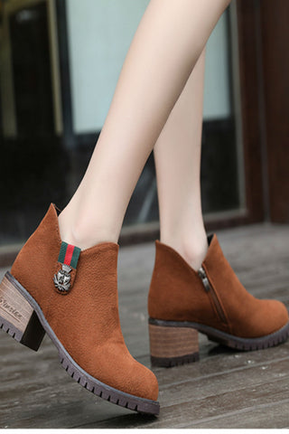 Brown Suede Leather Ankle Boots