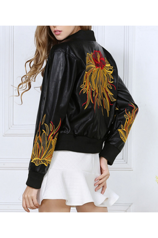 Flower Embroidered Leather Jacket In Black