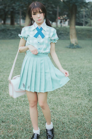 Mint Embroidery Pleated Skirt