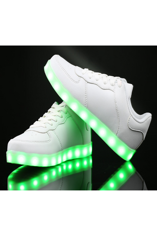 Unisex LED Light Lace Up Luminous Shoes In White