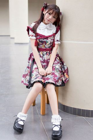 Jk Burgundy Ukiyoe Print Dress