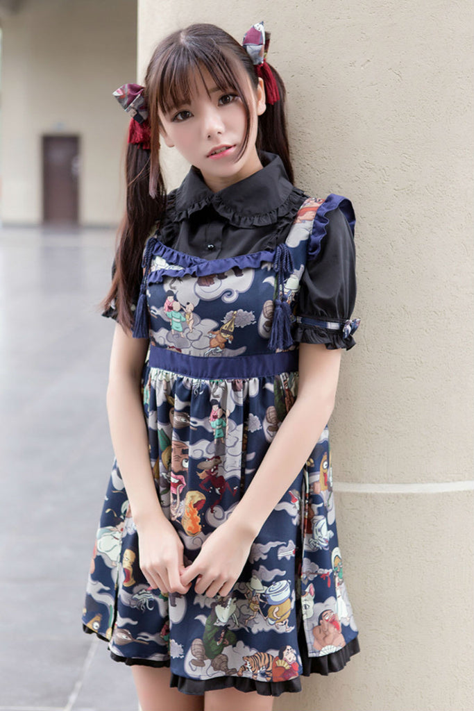 Jk Navy Ukiyoe Print Dress