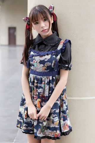 Jk Fashion Ukiyoe Print Cosplay Dress In Navy