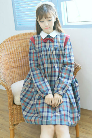 Retro Plaid Long Bow Dress