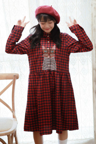 Cute Cats Plaid Dress