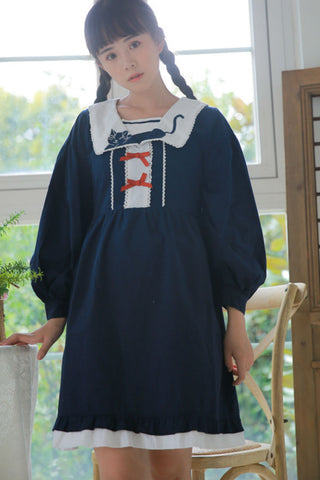 Cute Cat Navy College Dress