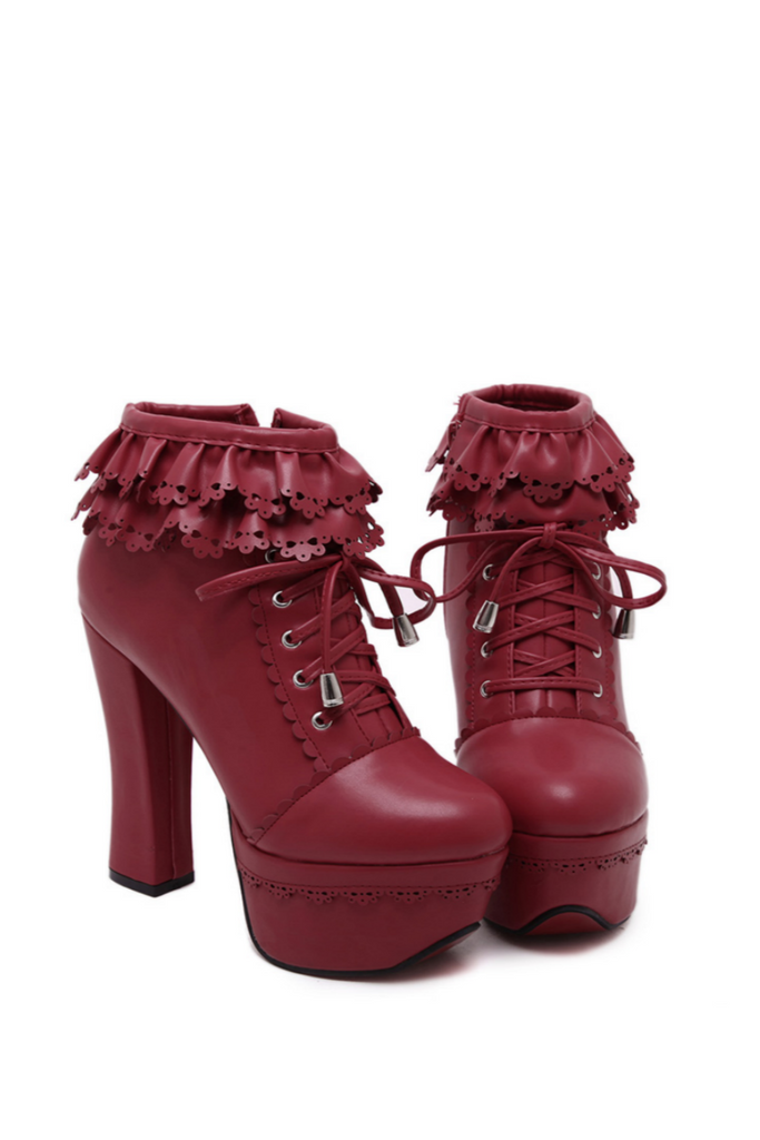 Loli Burgundy Ruffle High Heels