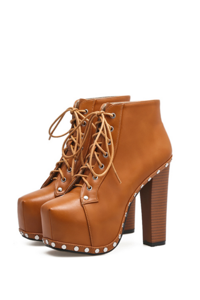 Punk Brown Studded High Heels