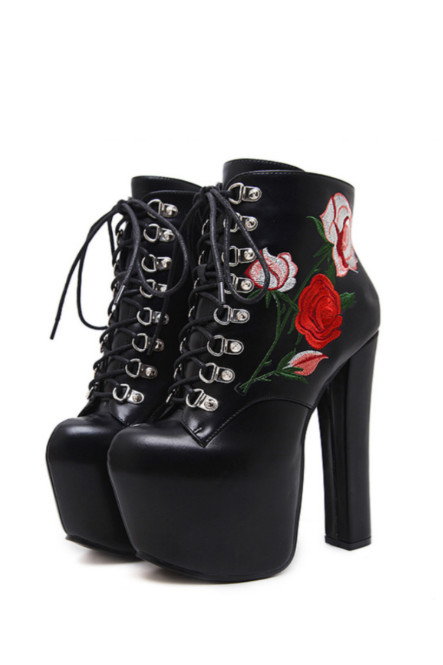 Floral Embroidered Black Heels