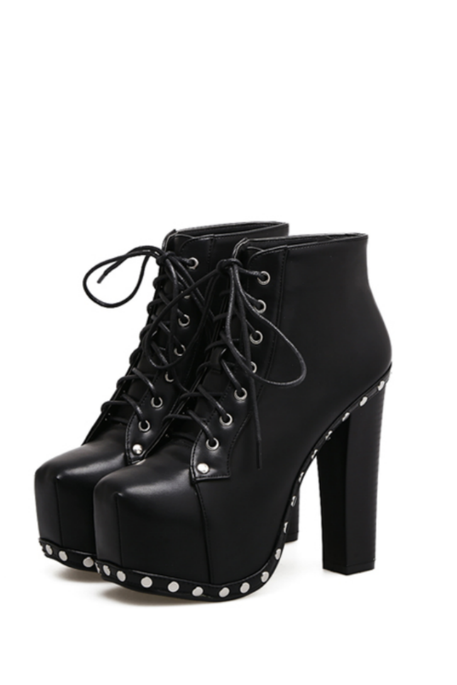 Punk Black Studded High Heels