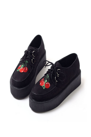 Cherry Black Platform Creepers