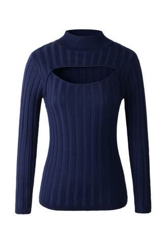 High-neck Open Chest Sweater