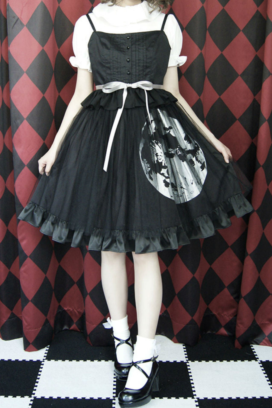 Lolita Gothic Moon Prints Skirt