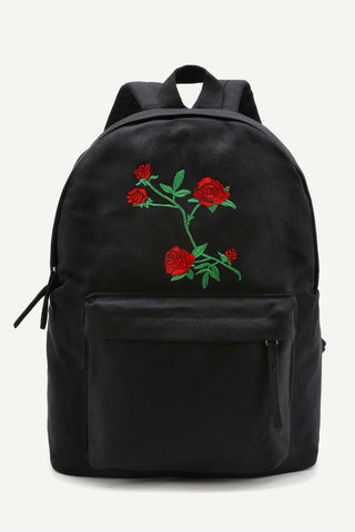 Black Flower Embroidery Canvas Backpack