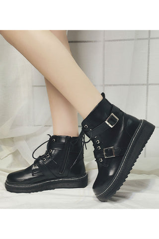 Black Platforms Ankle Boots
