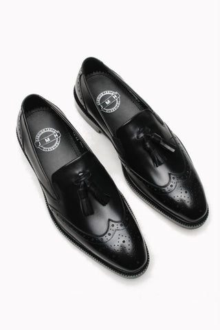 Black Tassel Brogue Dress Loafer