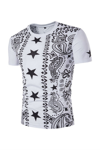 Star Paisley Printed T-shirt In White