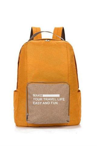 Yellow Foldable Travel Backpack