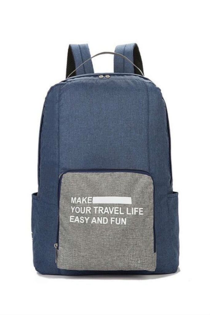 Navy Foldable Travel Backpack