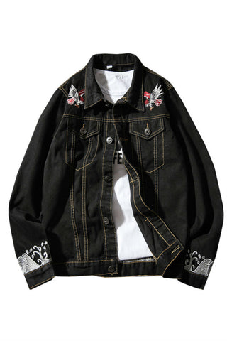 Waved Embroidered Denim Jacket