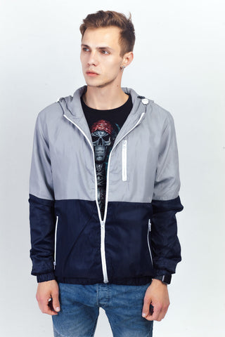 Bicolor Zipper Hooded Jacket