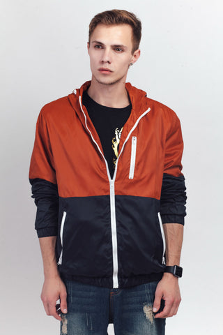 Color Block Zipper Hooded Jacket