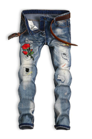 Floral Patch Straight Ripped Jeans