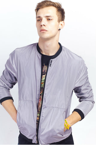 Grey Jacket With Stud Decor