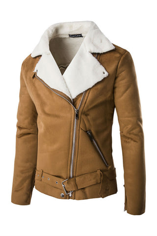 Khaki Suede Leather Fleece Jacket