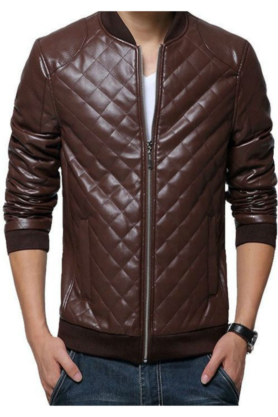Zipper Padded Leather Jacket