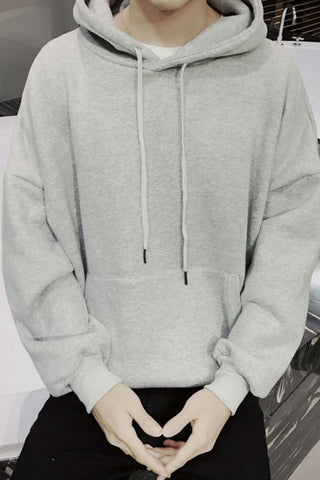 Solid Hoodie With Pocket Front