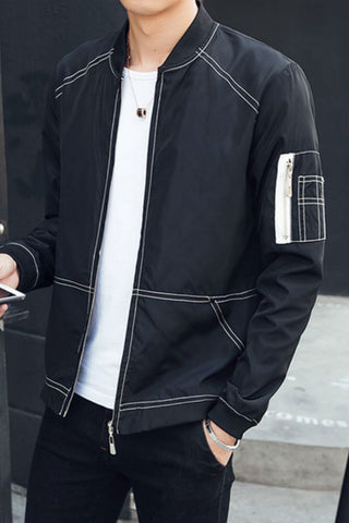 Black Slim Fit Bomber Jacket
