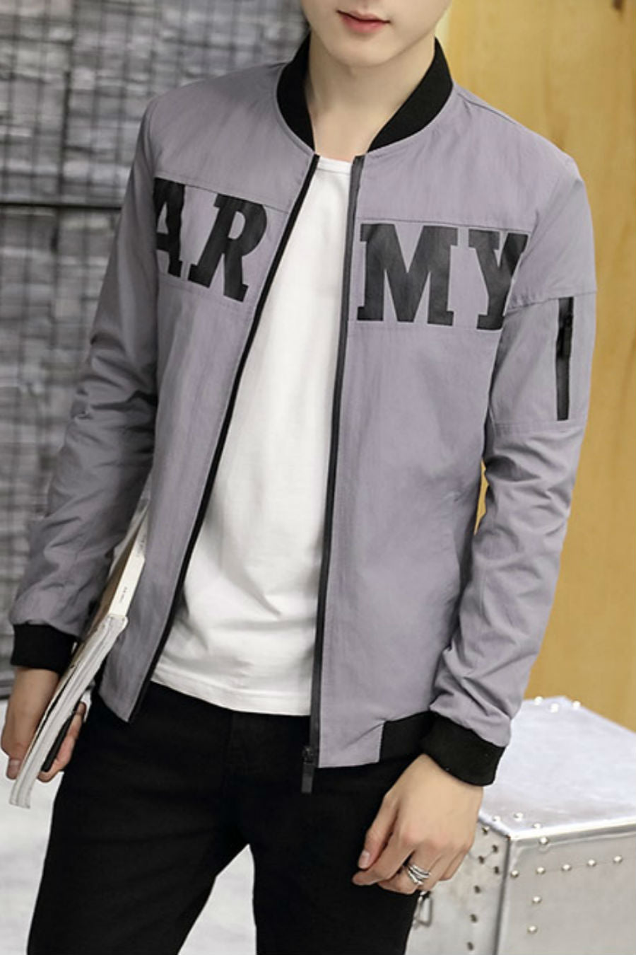 Gray Jacket With Army Print