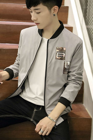 Slim Fit Gray Jacket With Patch