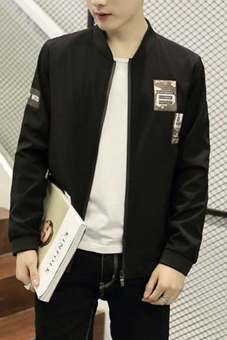 Slim Fit Black Jacket With Patch