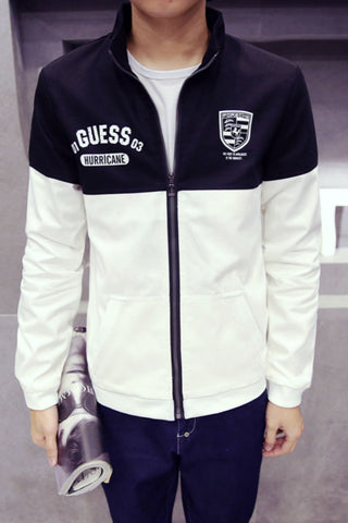 Black White Bicolor Sliming Jacket