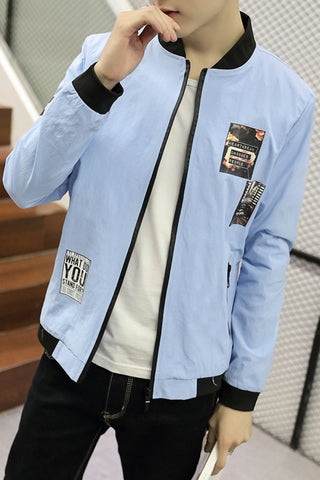 Slim Fit Blue Jacket With Patch